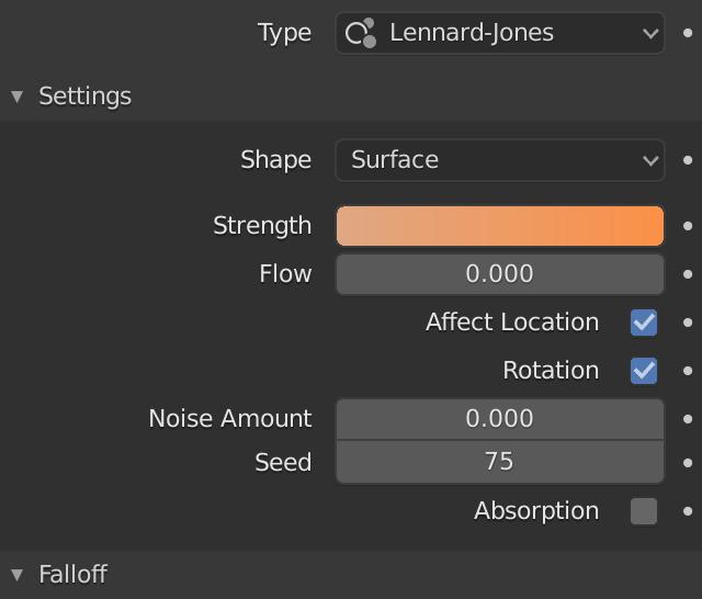 Lennard-Jones Strength