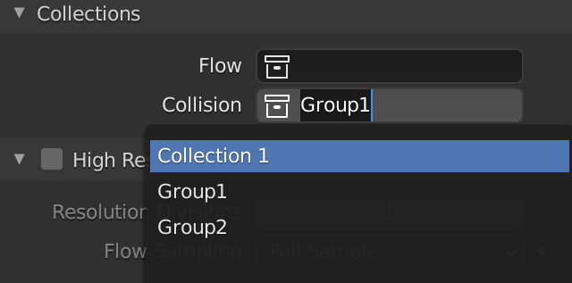 Blender Smoke Collection Collision Groups