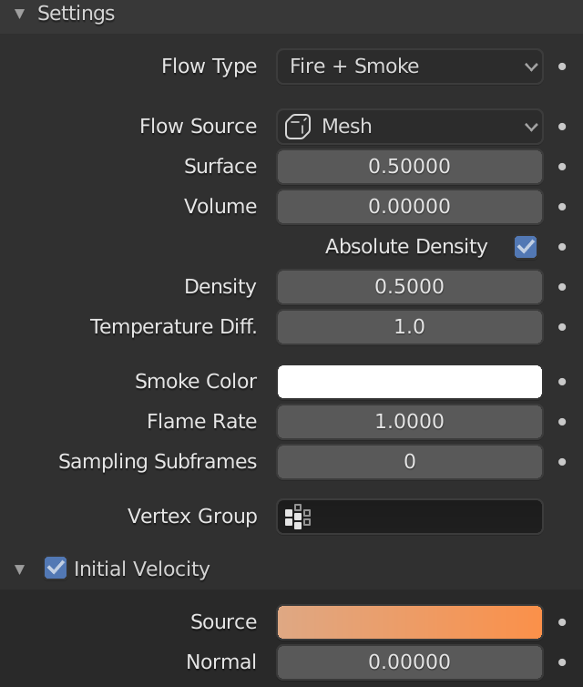 Blender Smoke Initial Velocity Source