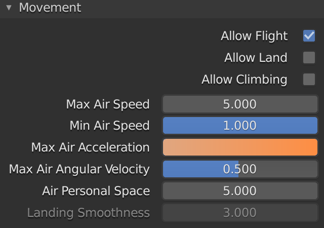 Blender Boids Max Air Acceleration
