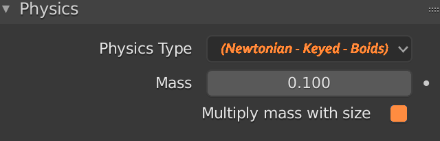 Blender Particle Newtonian Multiply Mass With Size