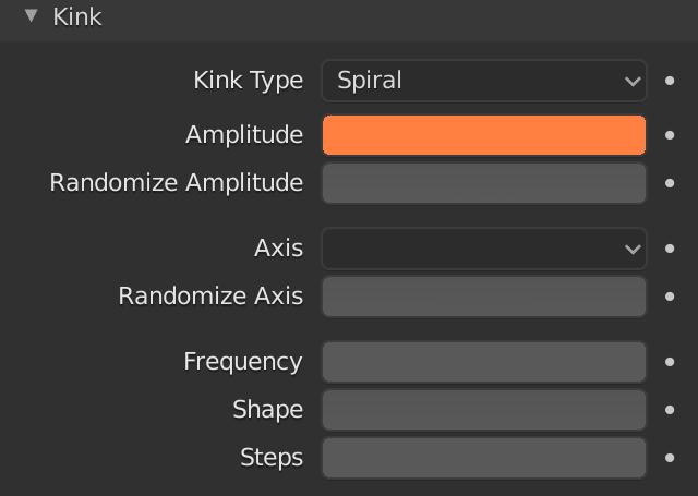 Blender Hair Kink Spiral Amplitude
