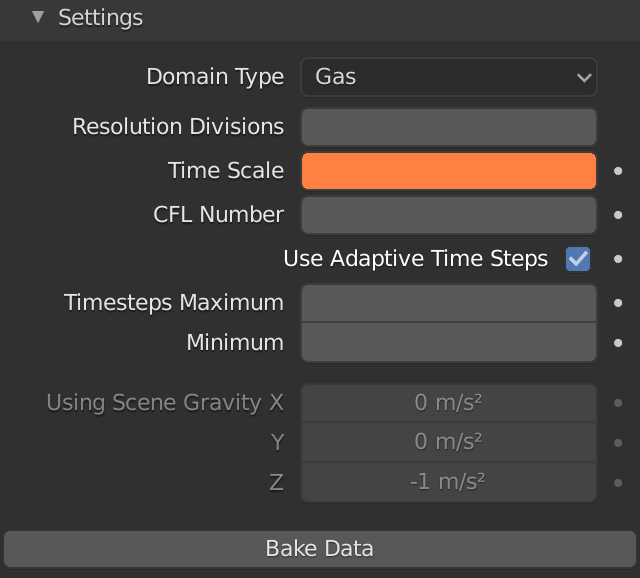 Blender Fluid Gas Time Scale