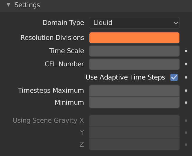 Blender Domain Liquid Resolution Divisions
