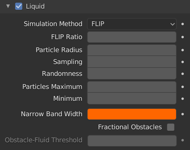 Blender Domain Liquid Narrow Band Width